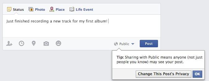 Facebook Herkese Açık Gönderi Uyarısı 2