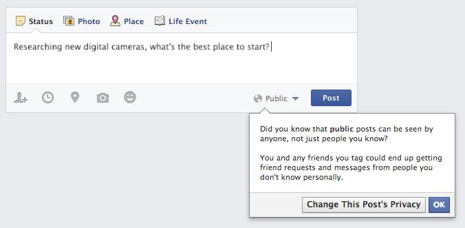Facebook Herkese Açık Gönderi Uyarısı