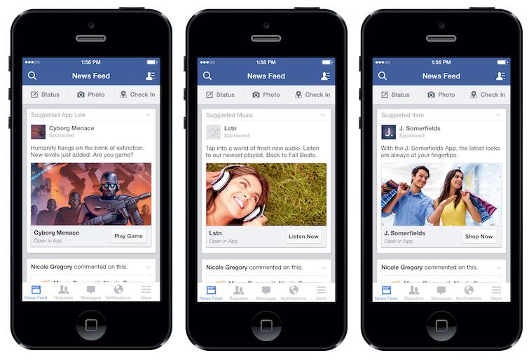 Facebook Oyna Dinle Alışveriş Yap Butonları