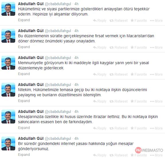 Abdullah Gül tarafından atılan tweetler