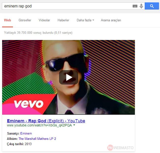 YouTube müzik videolarının Google arama sonuçlarındaki görüntüsü