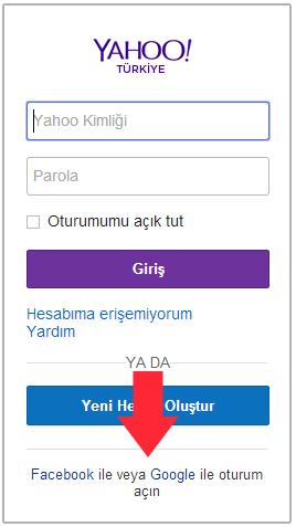 Yahoo giriş ekranı