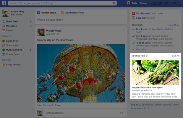 Facebook yeni sağ sütun reklamları
