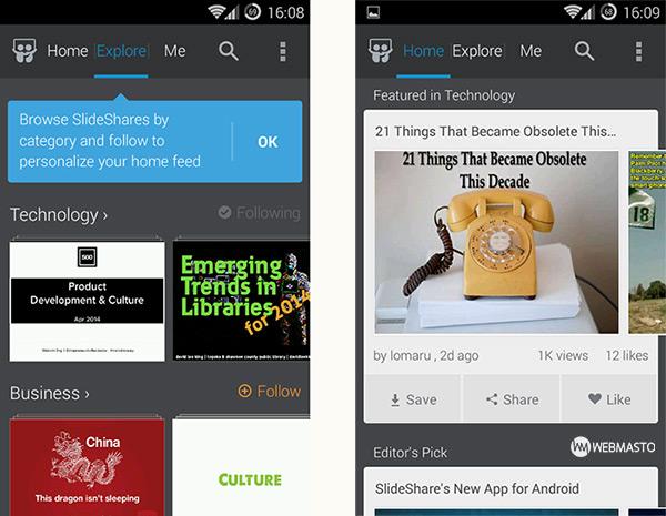 SlideShare Android uygulaması