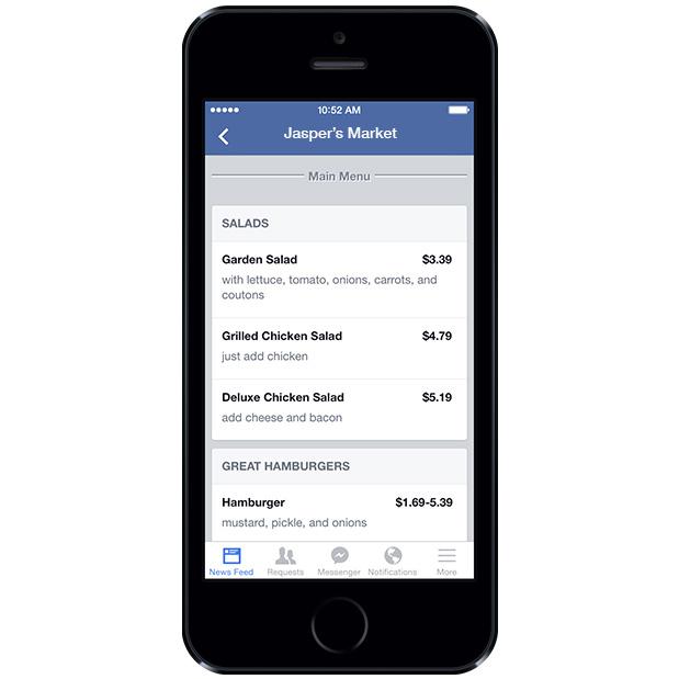 Facebook sayfaları, restoran menüleri