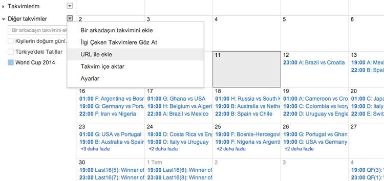 FIFA 2014 Dünya Kupası - Google Takvim