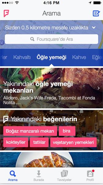 Yeni Foursquare arayüzü