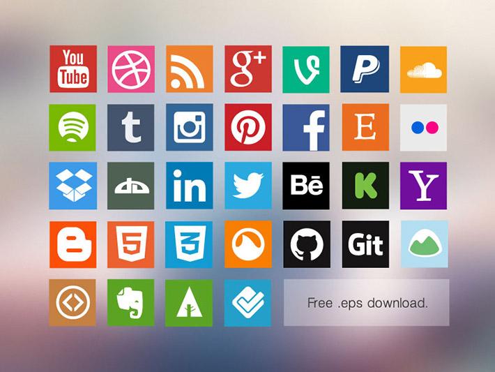 Flat Sosyal Medya İkon Seti