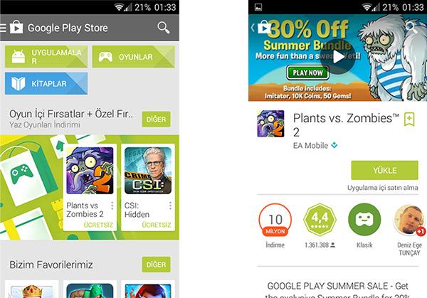 Google Play yeni tasarım