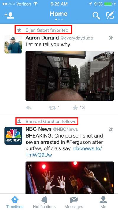Twitter timeline favori ve takiplerin gözükmesi