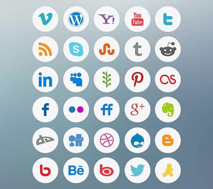 Açık Renkli Sosyal Medya İkonları