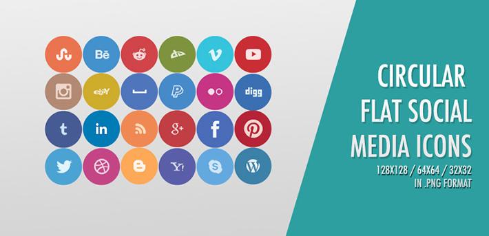 Circular Flat Sosyal Medya İkonları