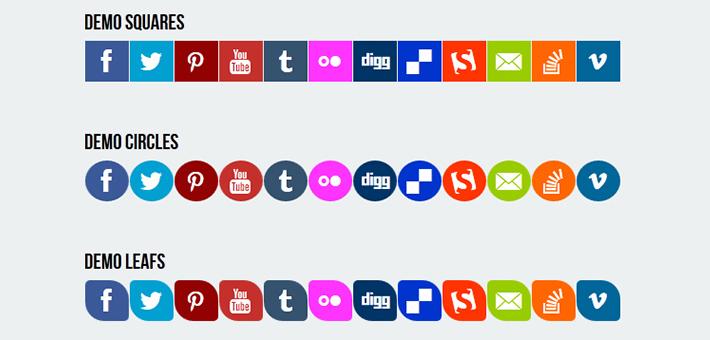 CSS3 Responsive Flat Sosyal Medya İkonları