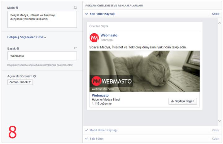 Facebook'a reklam verme 8
