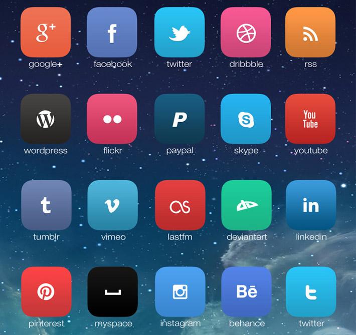 iOS 7 Sosyal İkon Seti