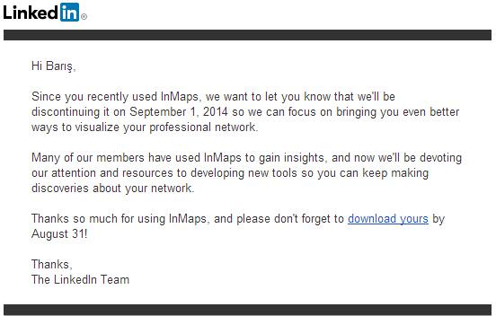 LinkedIn InMaps için yapılan e-posta duyurusu.