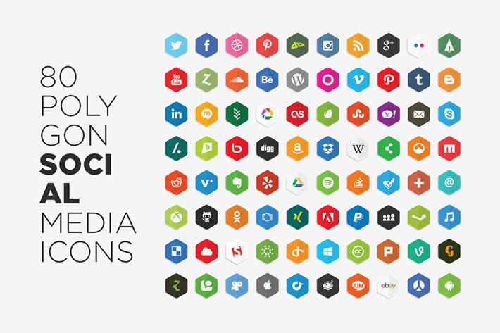 Polygon Flat Sosyal Medya İkonları