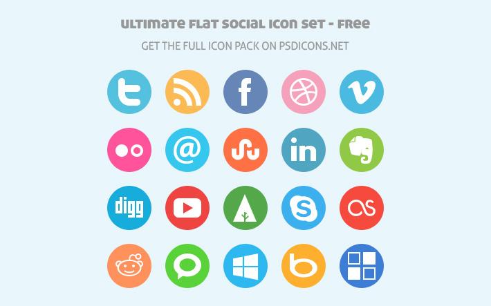 Ultimate Flat Sosyal İkon Seti