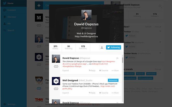 Twitter tasarım konsepti - Dawid Dapszus