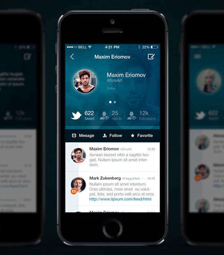 Twitter tasarım konsepti - Maxim Eriomov