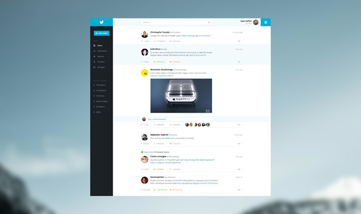 Twitter tasarım konsepti - Adrien THOMAS