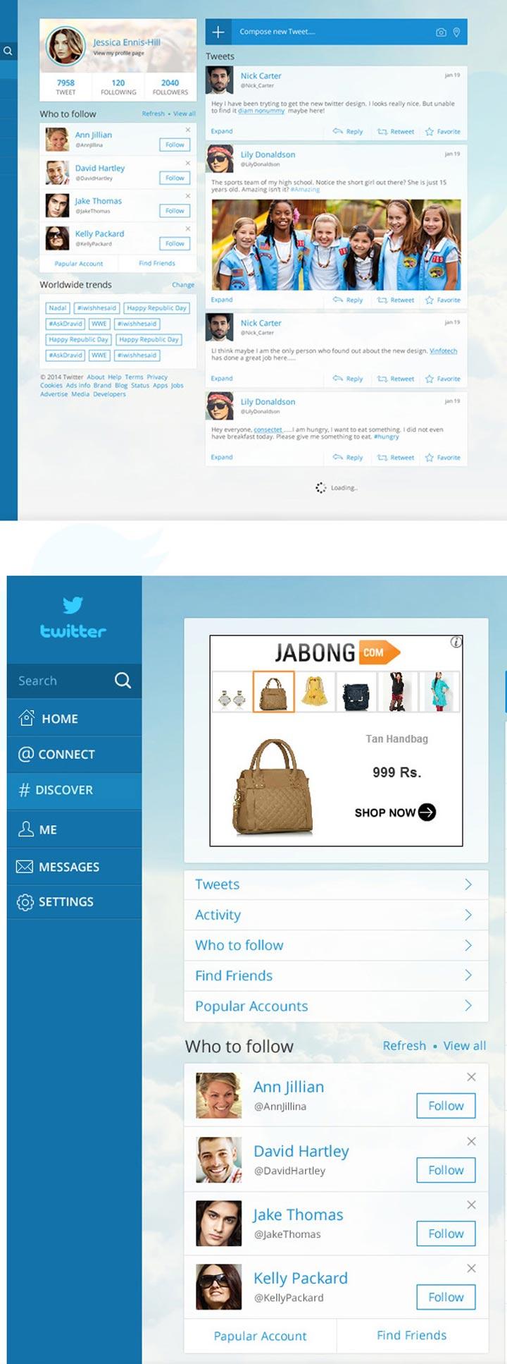Twitter tasarım konsepti - Vinfotech