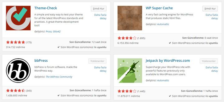 WordPress eklenti sayfası