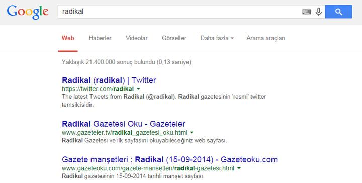 Google'da radikal arama sonucu