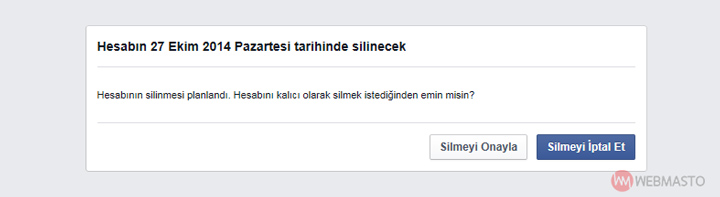 Facebook hesabı silmeyi iptal etme