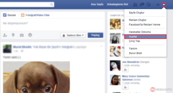 Facebook / Ayarlar