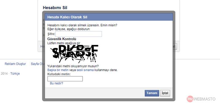 Facebook hesabı kalıcı olarak silme