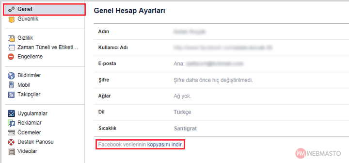 Facebook verilerini indirme