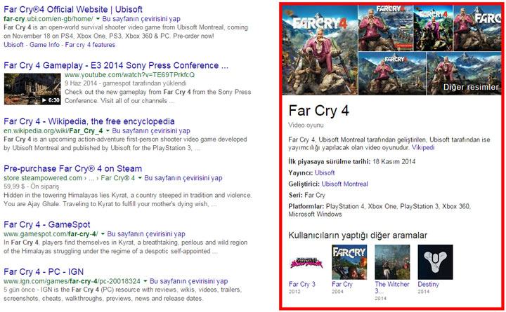 Google Bilgi Grafiği oyunlar