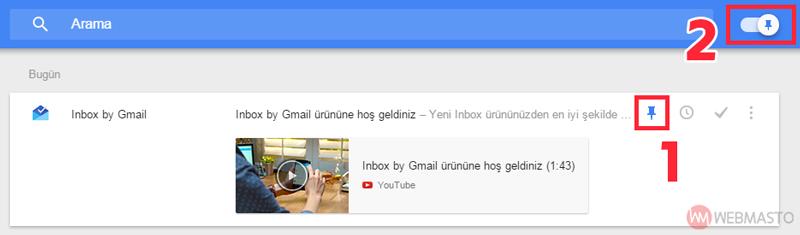 Inbox e-posta sabitleme