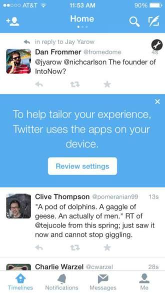 Twitter uygulama izleme uyarısı
