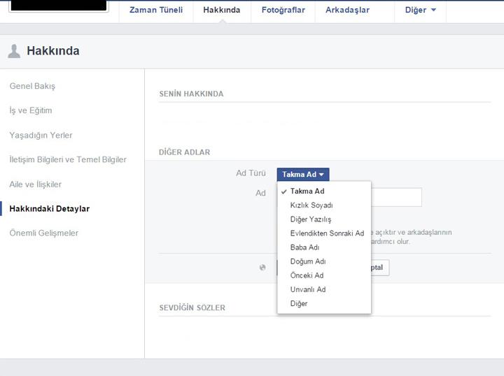 Facebook alternatif isimler