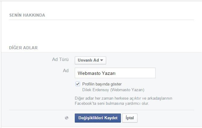 Facebook alternatif isim ekleme