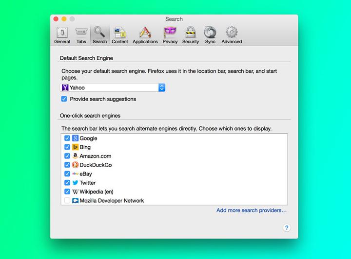 Firefox birincil arama motoru seçimi