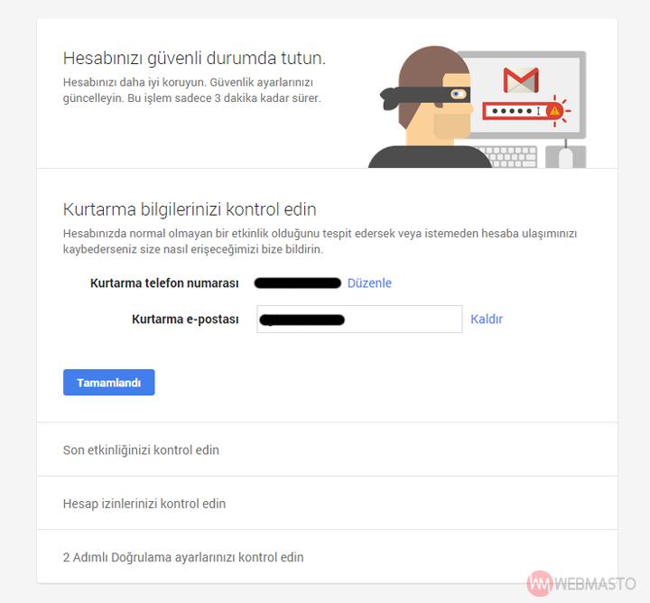 Google Güvenlik Sihirbazı