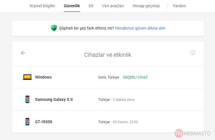 Google hesabına erişen cihazlar ve etkinlikler