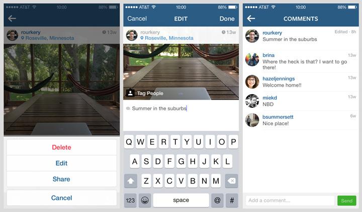 Instagram fotoğraf açıklamasını düzenleme