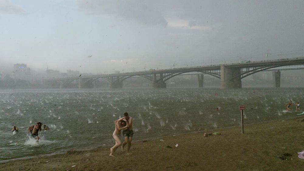 Sıcak bir günde plajda çıkan şiddetli fırtına ve dolu - Novosibirsk, Rusya, 12 Temmuz 2014 |Fotoğraf: Nikita Dudnik