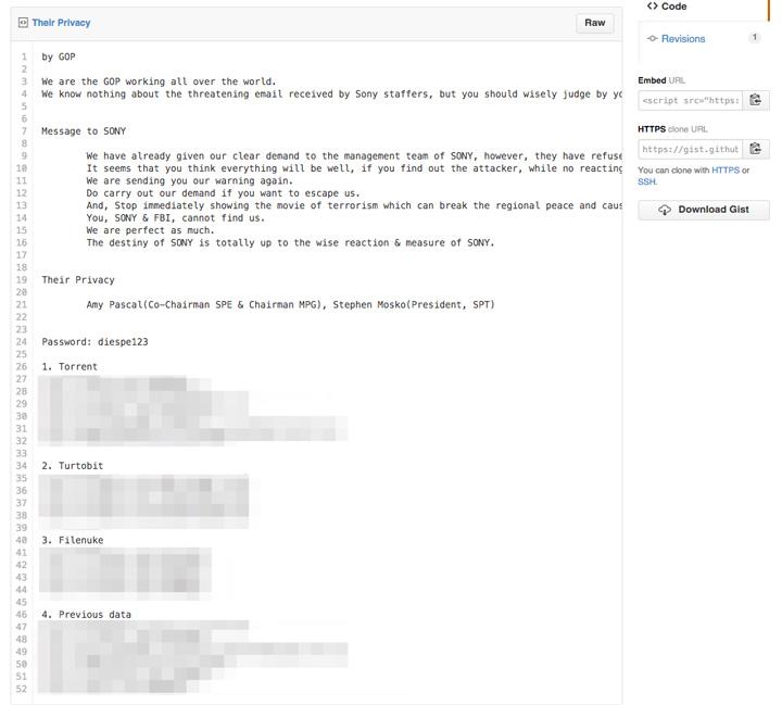 Sony hack saldırısı - Hackerların The Interview uyarısı (Kaynak: TNW)