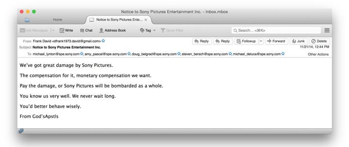 Sony hack saldırısı - e-posta