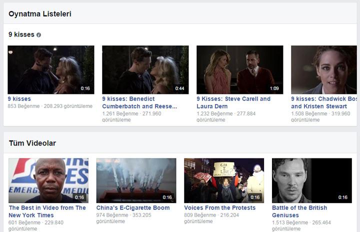 Faceboko Sayfaları video bölümü - oynatma listeleri