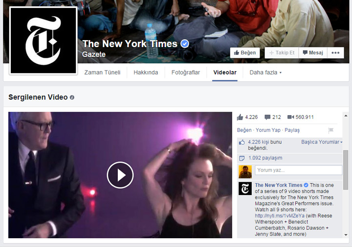 Faceboko Sayfaları video bölümü - sergilenen video