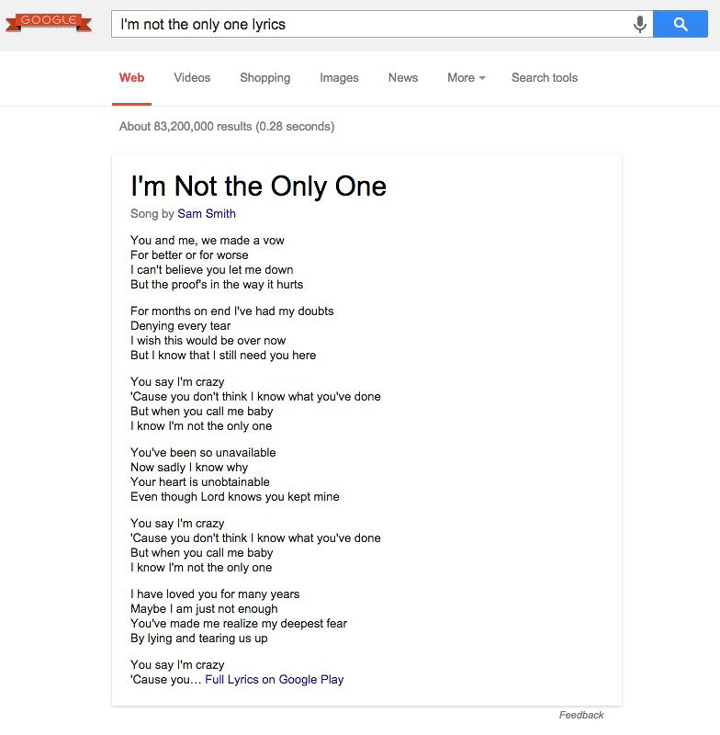 Google şarkı sözleri arama sonuçları