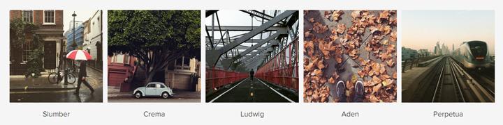 Instagram - Slumber, Crema, Ludwig, Aden ve Perpetua filtreleri