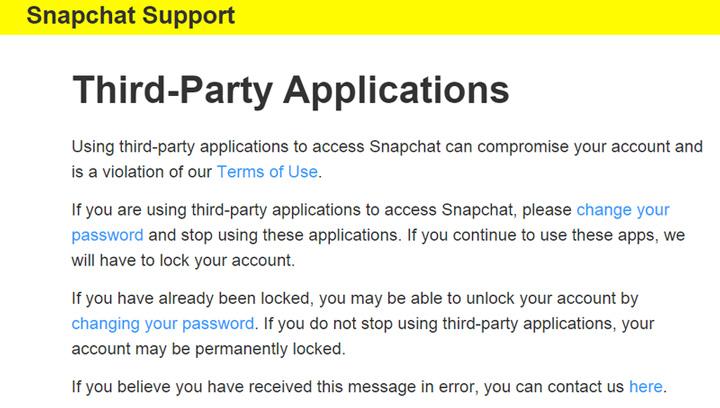 Snapchat, kullanıcıları 3. parti uygulama kullanma konusunda uyarmıştı.