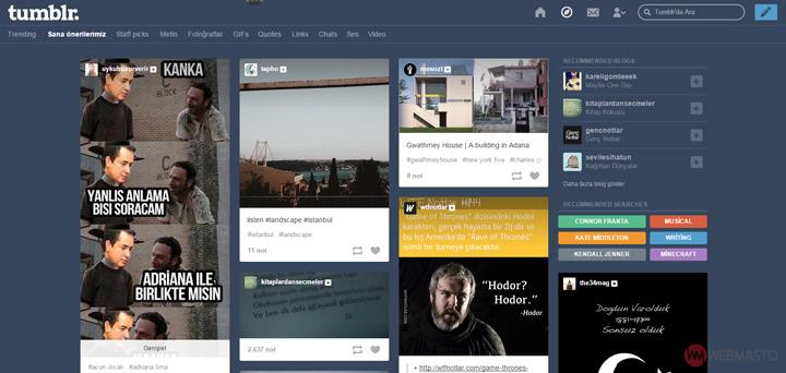 Tumblr Keşfet Butonu